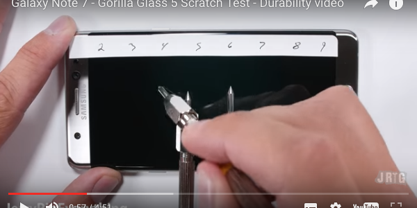 Galaxy Note7 display test graffi su Gorilla Glass 5