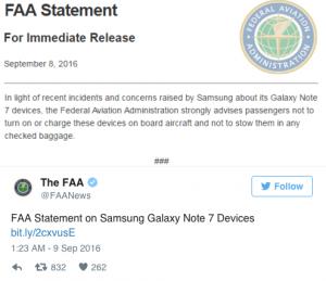 Il tweet della FAA