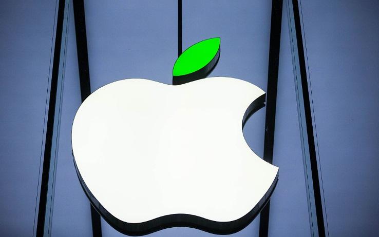 Logo di Apple con foglia verde