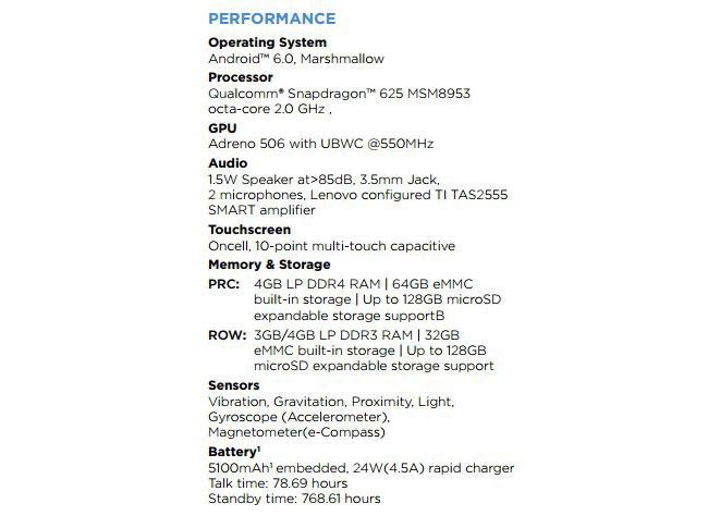Specifiche tecniche Moto M